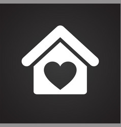 Love home icon on black background for graphic and vector