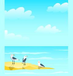 Marine ocean and seagulls on sandbank design vector