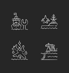 Maritime sector chalk white icons set on black vector