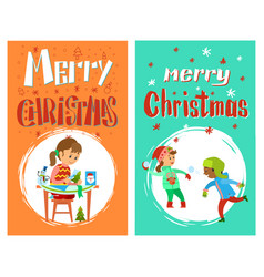 merry christmas greering card with children vector image