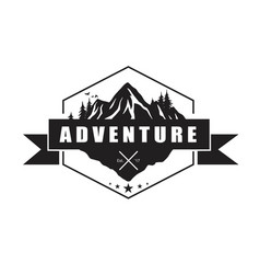 mountain adventure logo template design vector image