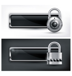 Padlock icon on black white vector image