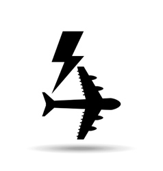 Plane and lightning bolt icon vector