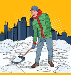 pop art man clearing snow with shovel winter vector image