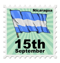 post stamp of national day of Nicaragua vector image