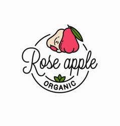 Rose apple fruit logo round linear apple slice vector