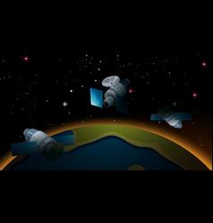 Satellites flying around earth vector