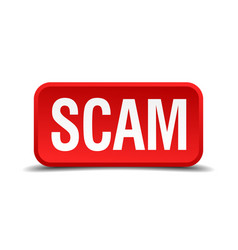 Scam red 3d square button isolated on white vector