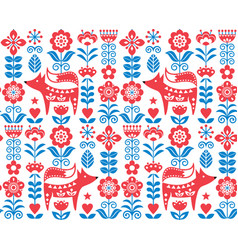 Scandinavian nordic folk seamless pattern vector