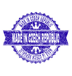 scratched textured made in czech republic stamp vector image