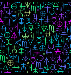 Seamless pattern colourful neon alchemical vector