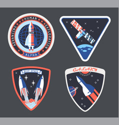 set isolated astronaut or cosmonaut patch sign vector image