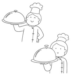 set of chef vector image