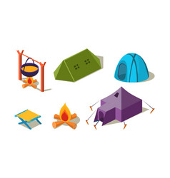 set of isometric camping equipment vector image