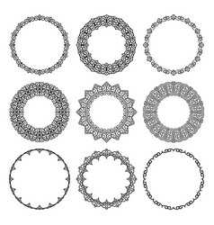 set of round frames in modern oriental motifs vector image