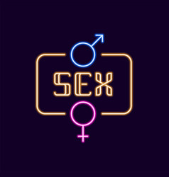 Sex neon font with icon 80s text letter glow vector