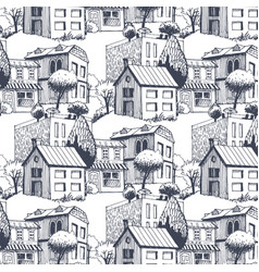 small city pattern with trees on street and cafe vector image