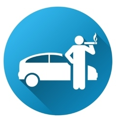 Smoking Taxi Driver Gradient Round Icon vector