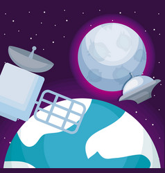 space satellite with planet earth and moon vector image