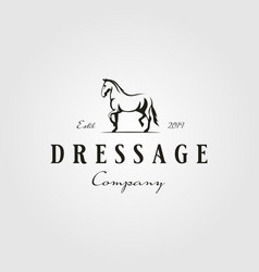 Stallion horse running dressage logo hipster vector