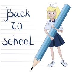 Student girl with great pencil vector image