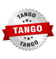 Tango 3d silver badge with red ribbon vector