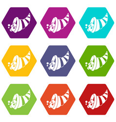 Thanksgiving cornucopia icon set color hexahedron vector
