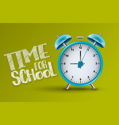 time for school banner with realistic alarm clock vector image