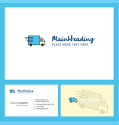 Truck logo design with tagline front and back vector