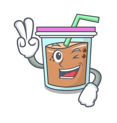 Two finger bubble tea character cartoon vector