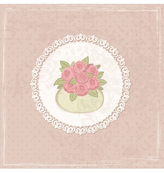 Vintage background with basket of flowers 2 vector image vector image