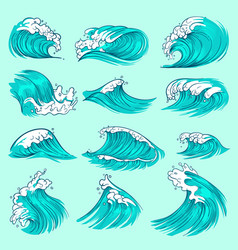 Vintage hand drawn sea blue waves with splashes vector