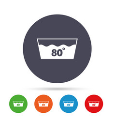 Wash icon machine washable at 80 degrees symbol vector
