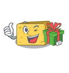 with gift gouda cheese pieces cartoon vector image