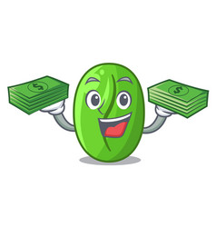 With money green coffee beans in cartoon bowl vector