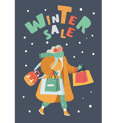 young woman shopping for christmas vector image