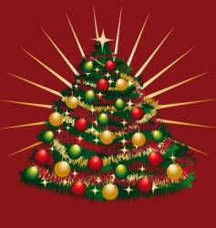 Christmas-tree with tinsels and bowls vector image vector image