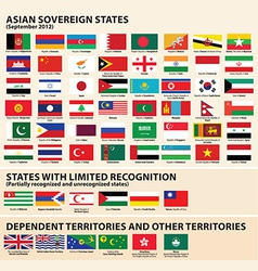 Flags of the Asia vector image