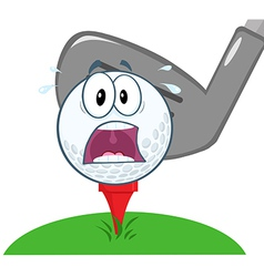 Panic Golf Ball Over Tee vector image vector image