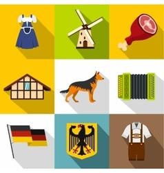 Republic of Germany icons set flat style vector image