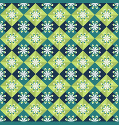 seamless geometric pattern on green background vector image vector image