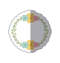 sticker circular border with leaves and flowers vector image