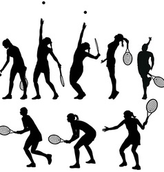Tennis players silhouettes vector image vector image