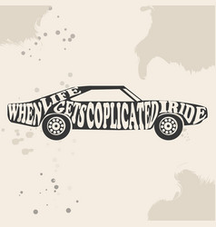 vintage american muscle car silhouette vector image
