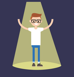 young successful nerd standing in the spotlight vector image vector image