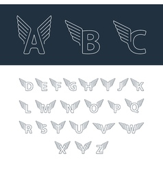 Alphabet letters with wings vector image