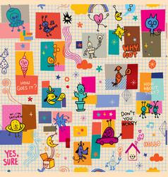 cartoon characters fun seamless pattern vector image vector image