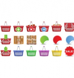 shopping baskets icon set vector image vector image