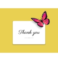 Thank you blank card with beautiful red butterfly vector image vector image