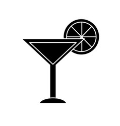 contour delicious cocktail with slice of lemon to vector image